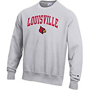 Champion Men's Louisville Cardinals Grey Reverse Weave Crew Sweatshirt