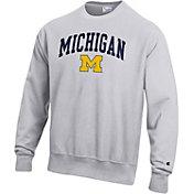 Champion Men's Michigan Wolverines Grey Reverse Weave Crew Sweatshirt