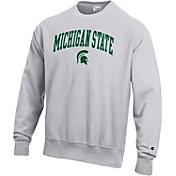 Champion Men's Michigan State Spartans Grey Reverse Weave Crew Sweatshirt