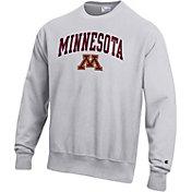 Champion Men's Minnesota Golden Gophers Grey Reverse Weave Crew Sweatshirt