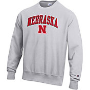 Champion Men's Nebraska Cornhuskers Grey Reverse Weave Crew Sweatshirt