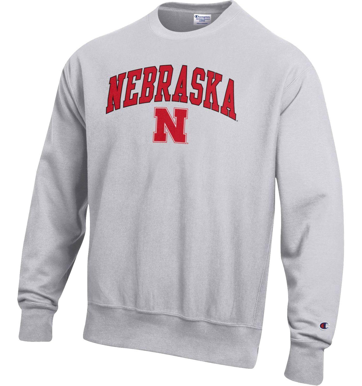 Champion Men's Nebraska Cornhuskers Grey Reverse Weave Crew Sweatshirt