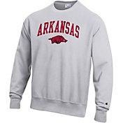 Champion Men's Arkansas Razorbacks Grey Reverse Weave Crew Sweatshirt