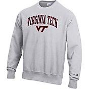 Champion Men's Virginia Tech Hokies Grey Reverse Weave Crew Sweatshirt