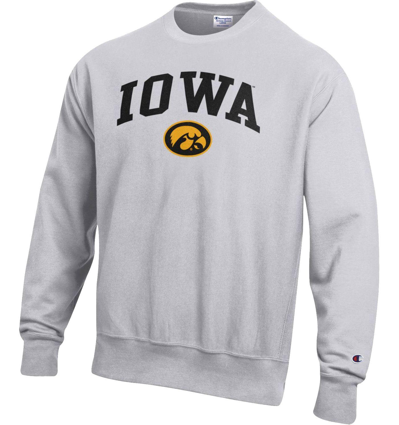 Champion Men's Iowa Hawkeyes Grey Reverse Weave Crew Sweatshirt