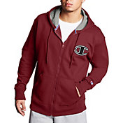 Champion Men's Powerblend Fleece Chainstitch Outline C Logo Full Zip Hoodiev