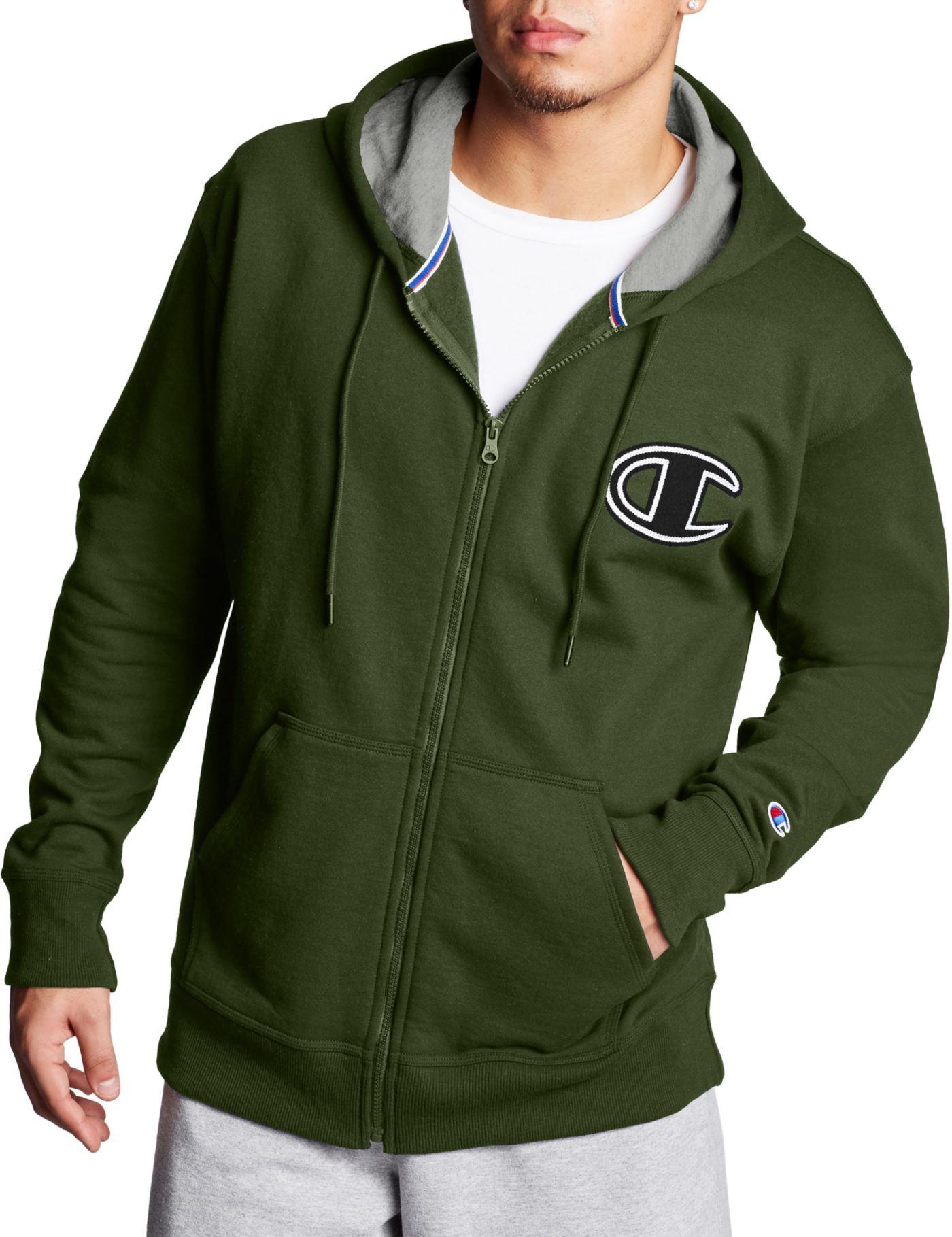 Champion Men's Powerblend Fleece Chainstitch Outline C Logo Full Zip Hoodiev