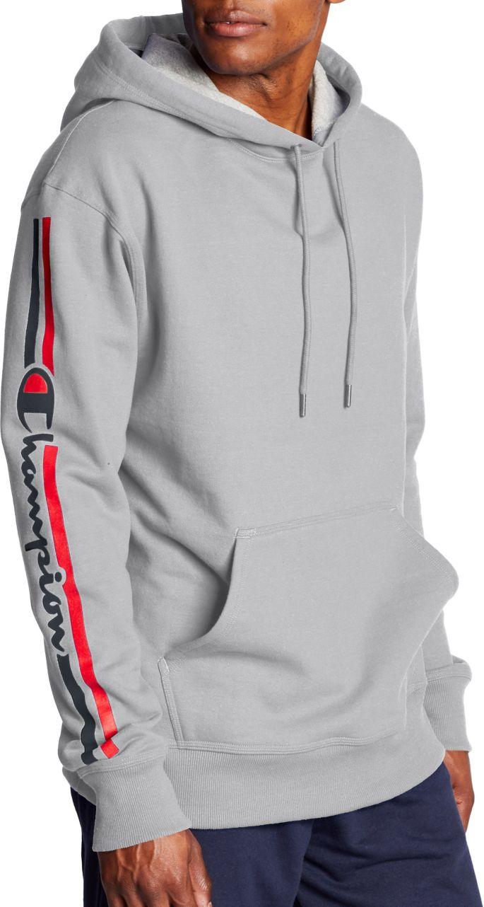Champion Men's Powerblend Vertical Script Logo Pullover Hoodie