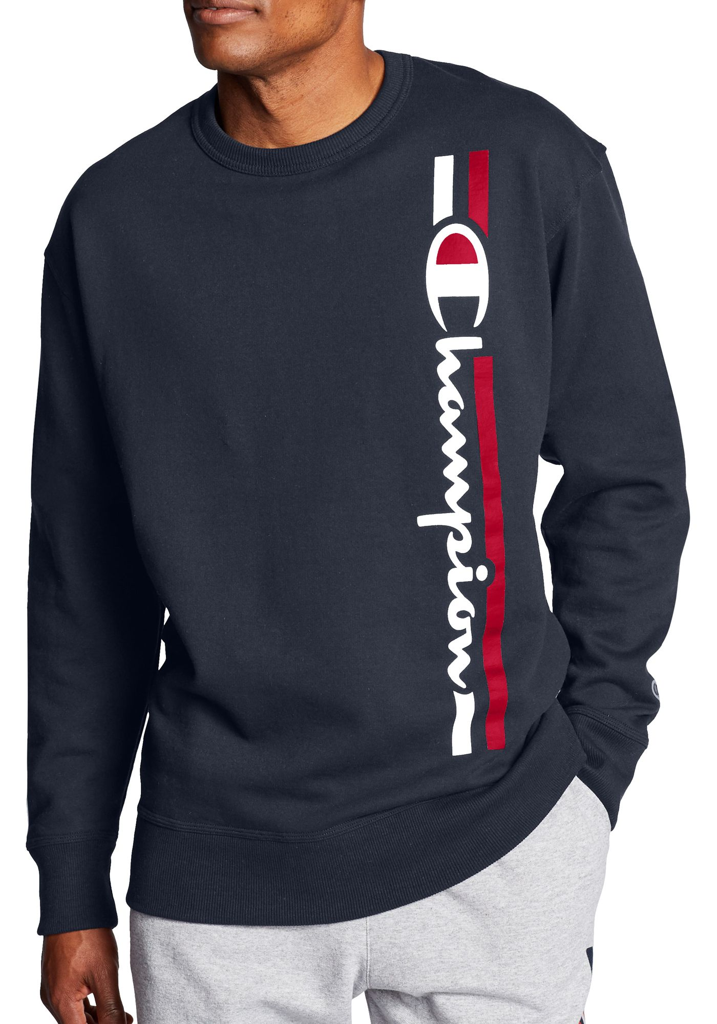 Champion Men's Powerblend Vertical Script Crewneck Sweatshirt