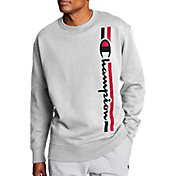 Champion Men's Powerblend Vertical Script Crewneck Sweatshirt