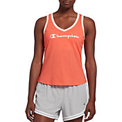 Champion Women's Heritage Ringer Logo V-Neck Tank Top
