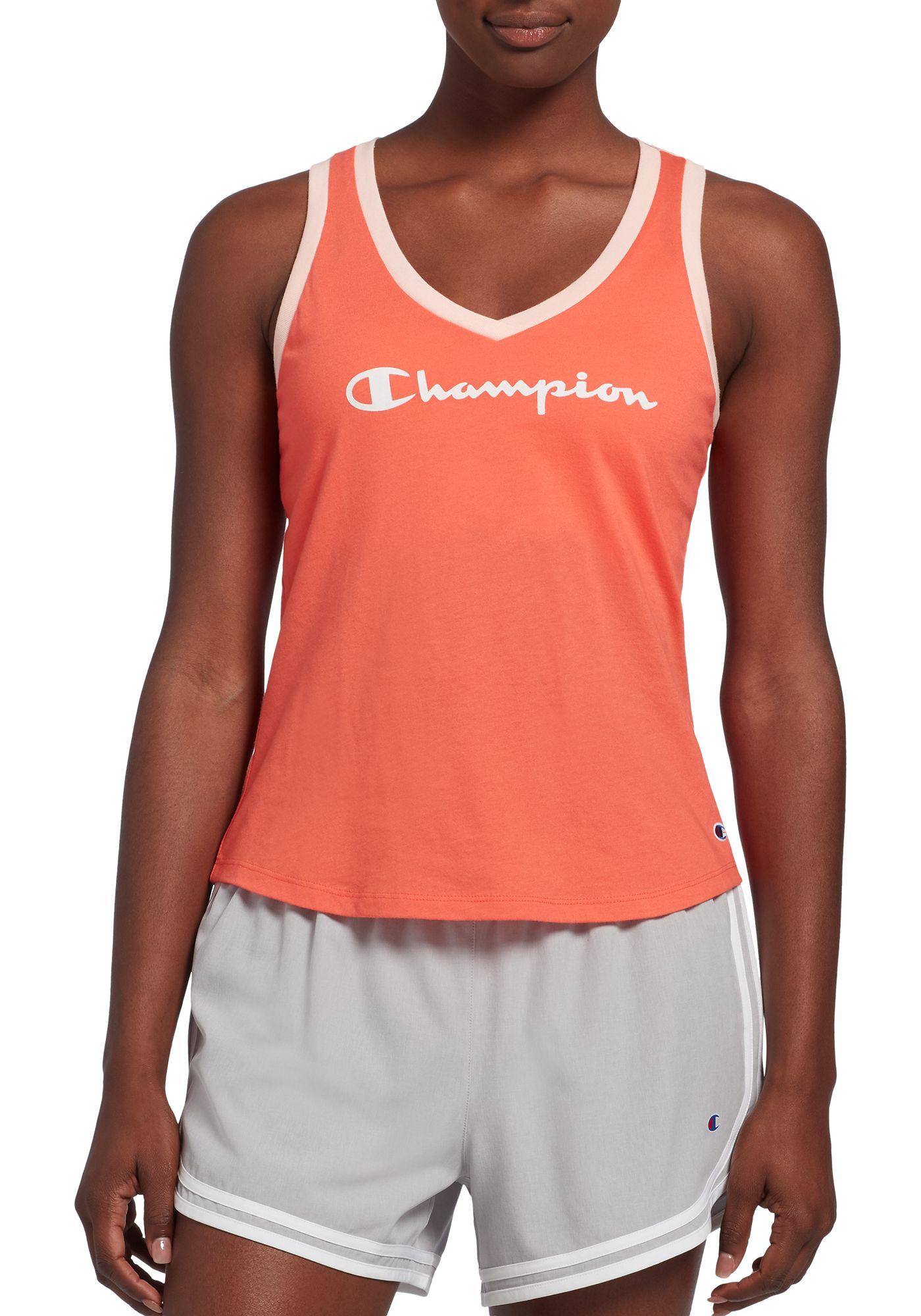 Champion Women's Heritage Ringer Logo V-Neck Tank Top