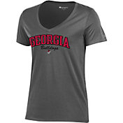 Champion Women's Georgia Bulldogs Grey V-Neck T-Shirt