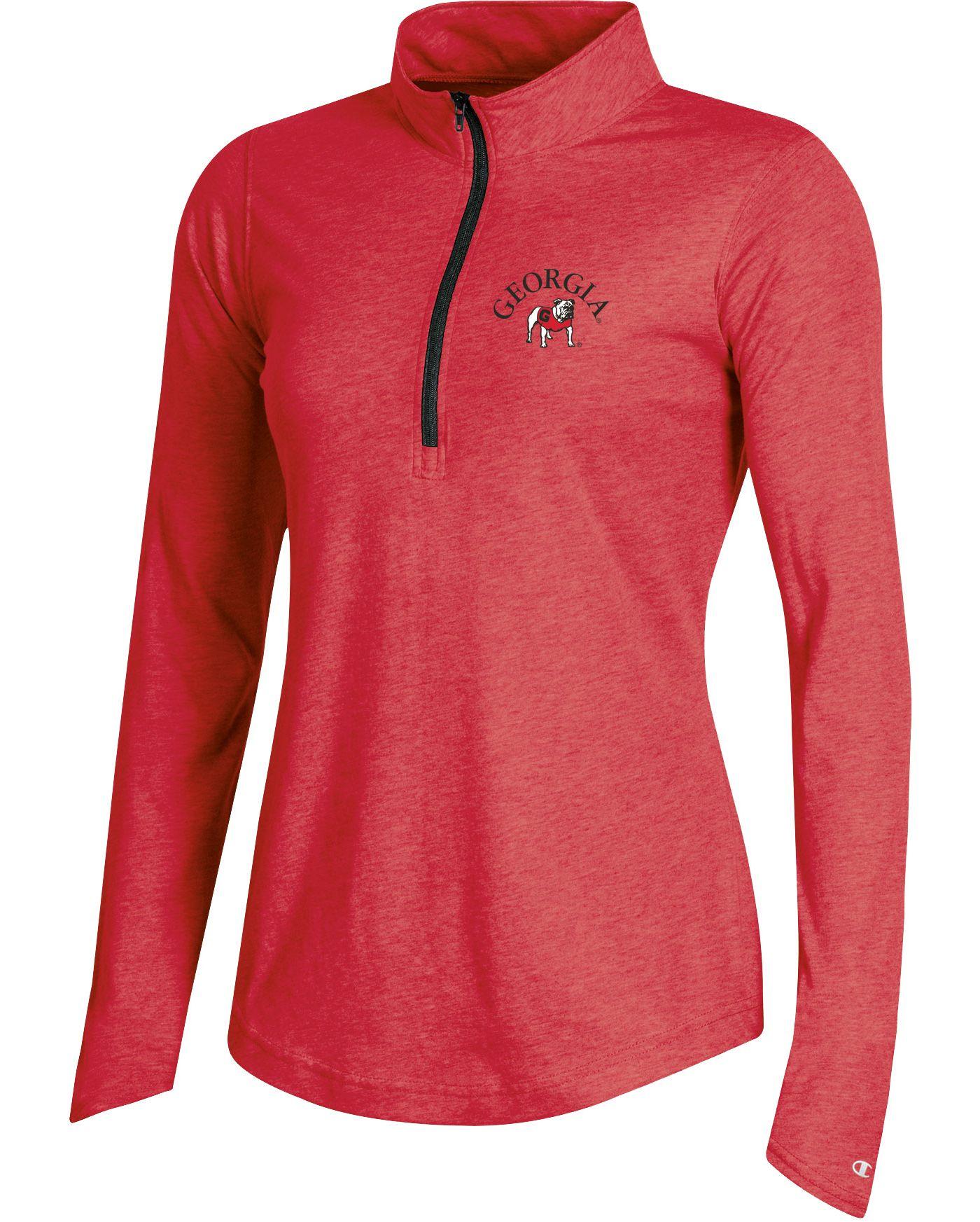 Champion Women's Georgia Bulldogs Red Quarter-Zip Performance Shirt