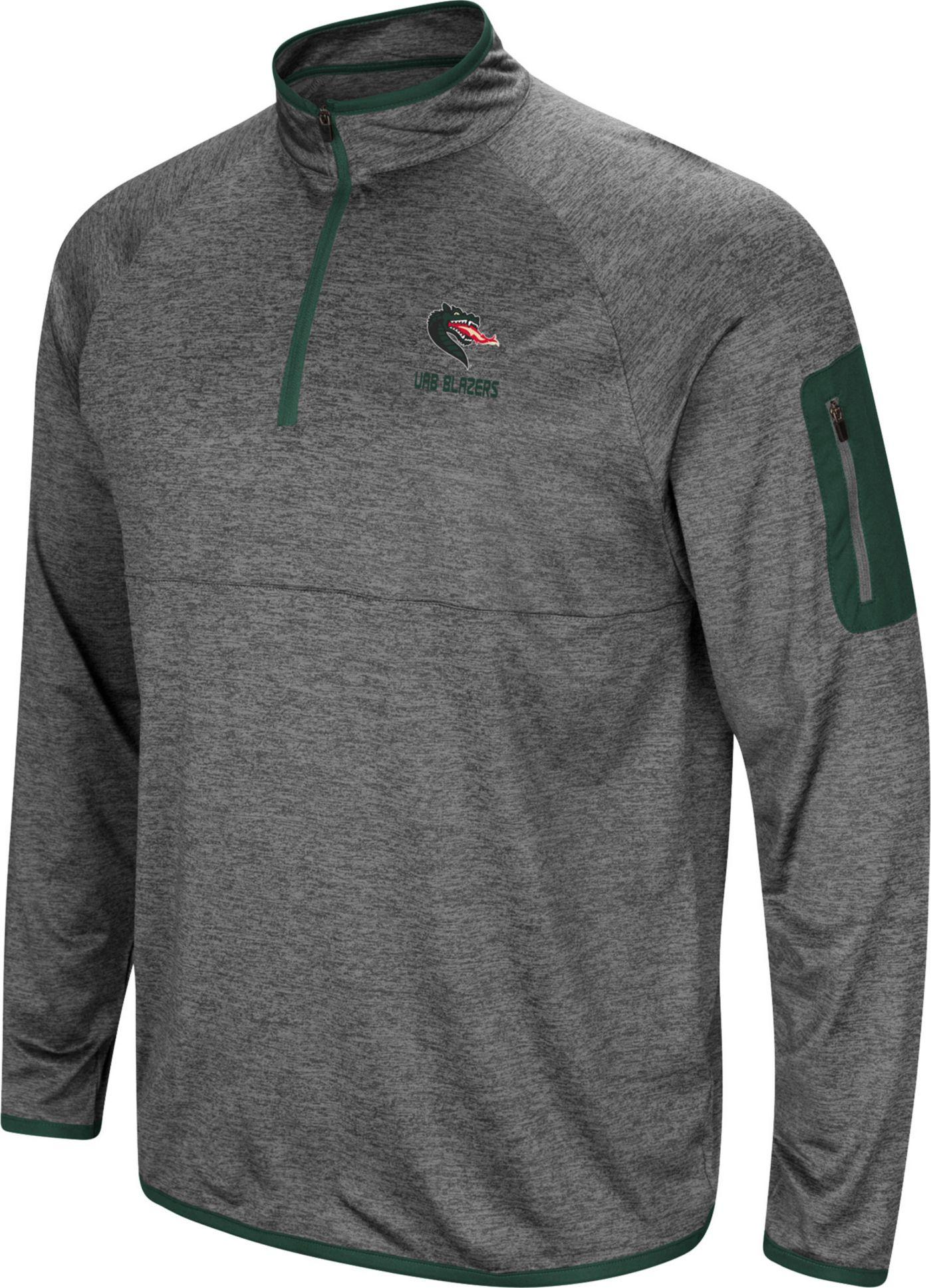 Colosseum Men's UAB Blazers Grey Indus River Quarter-Zip Shirt
