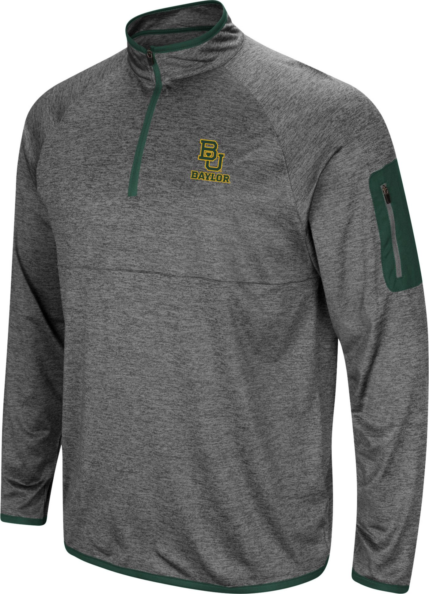 Colosseum Men's Baylor Bears Grey Indus River Quarter-Zip Shirt