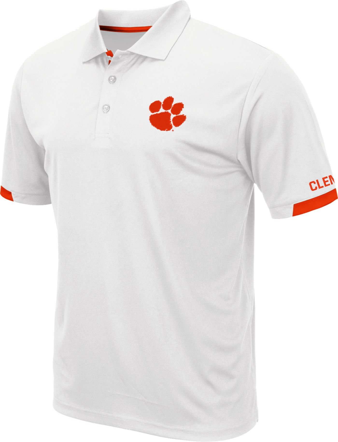 Colosseum Men's Clemson Tigers Fairway White Polo