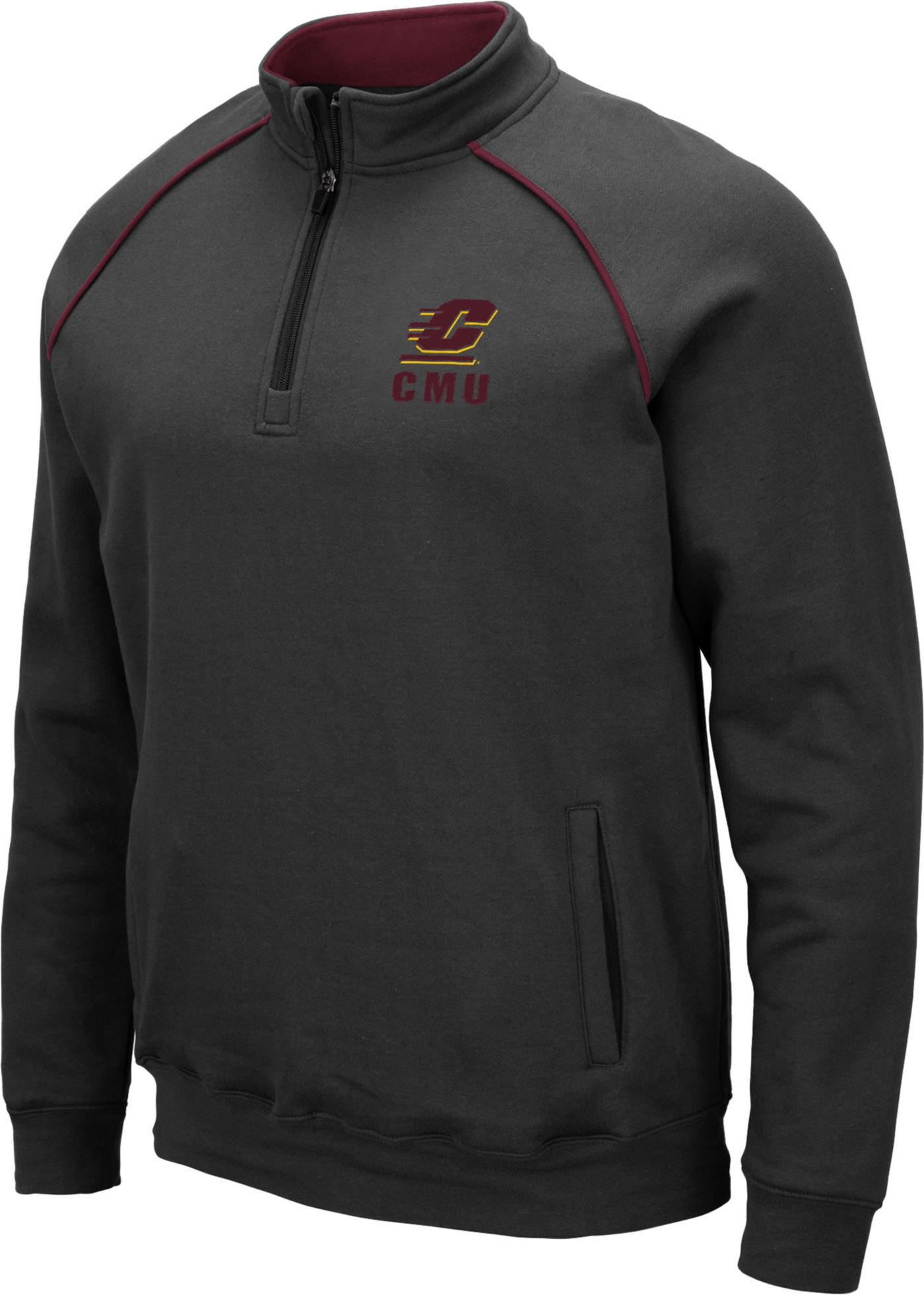 Colosseum Men's Central Michigan Chippewas Grey VF Staghorn Quarter-Zip Shirt