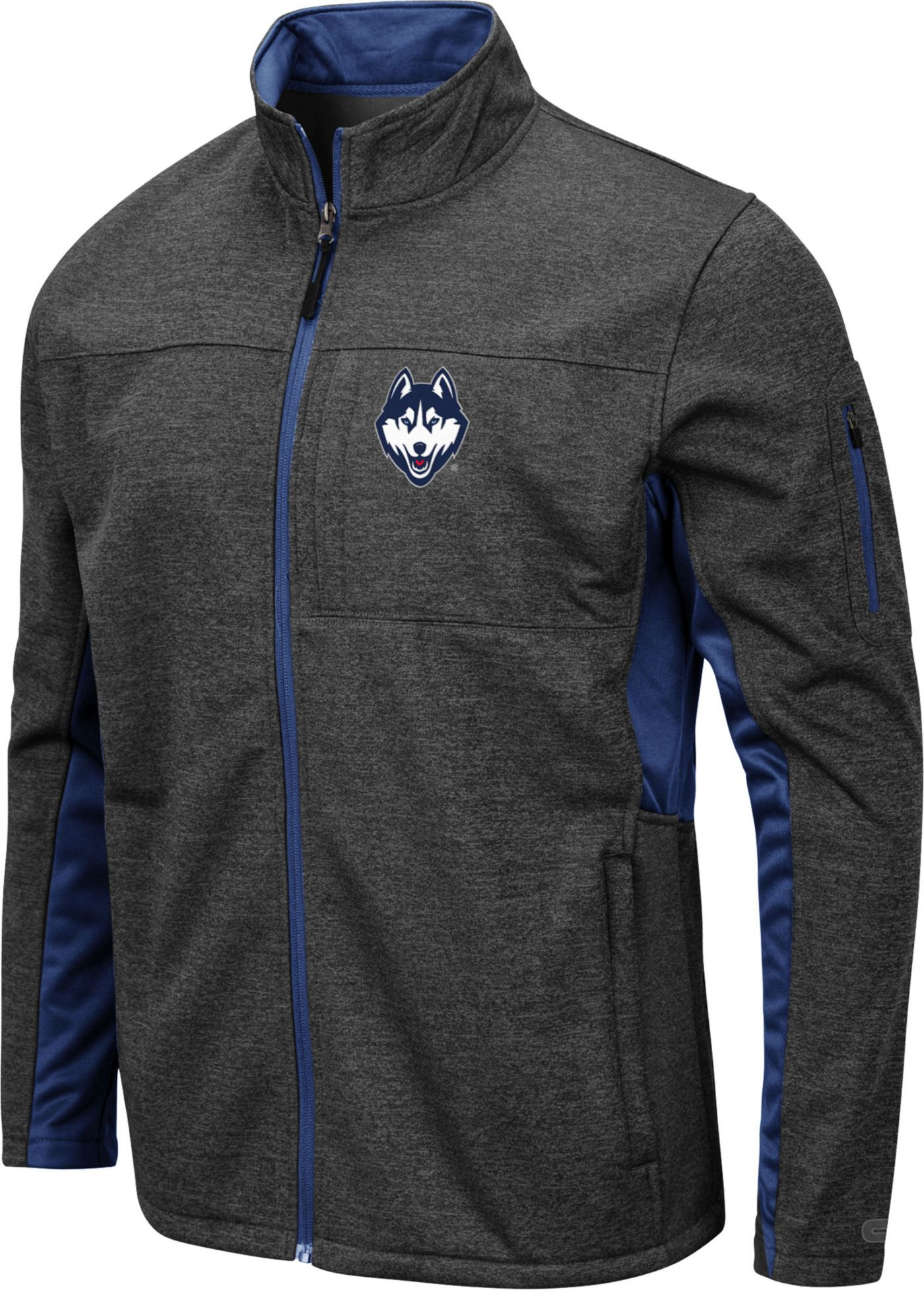 Colosseum Men's UConn Huskies Grey Bumblebee Man Full-Zip Jacket