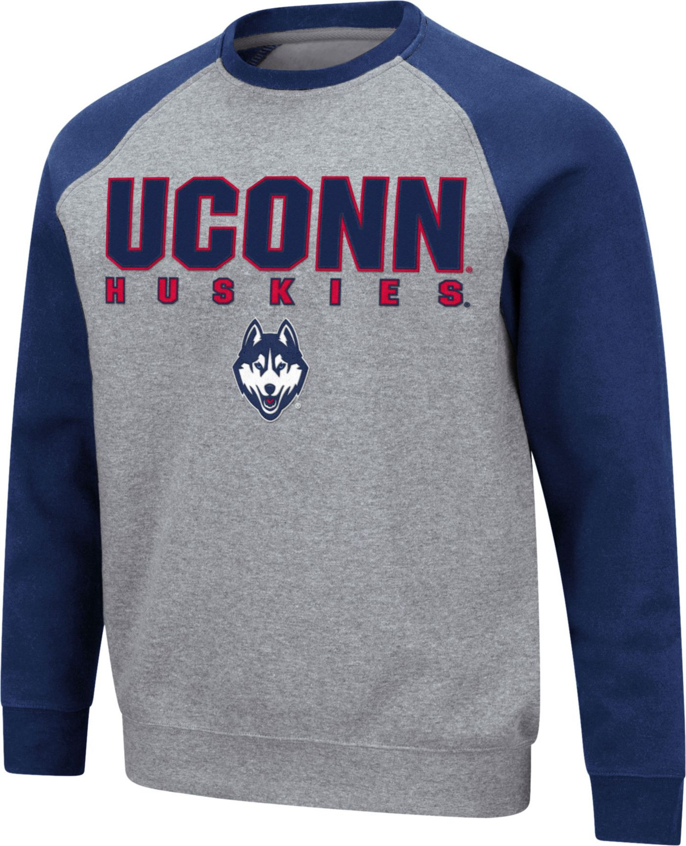 Colosseum Men's UConn Huskies Grey Raglan Pullover Sweatshirt