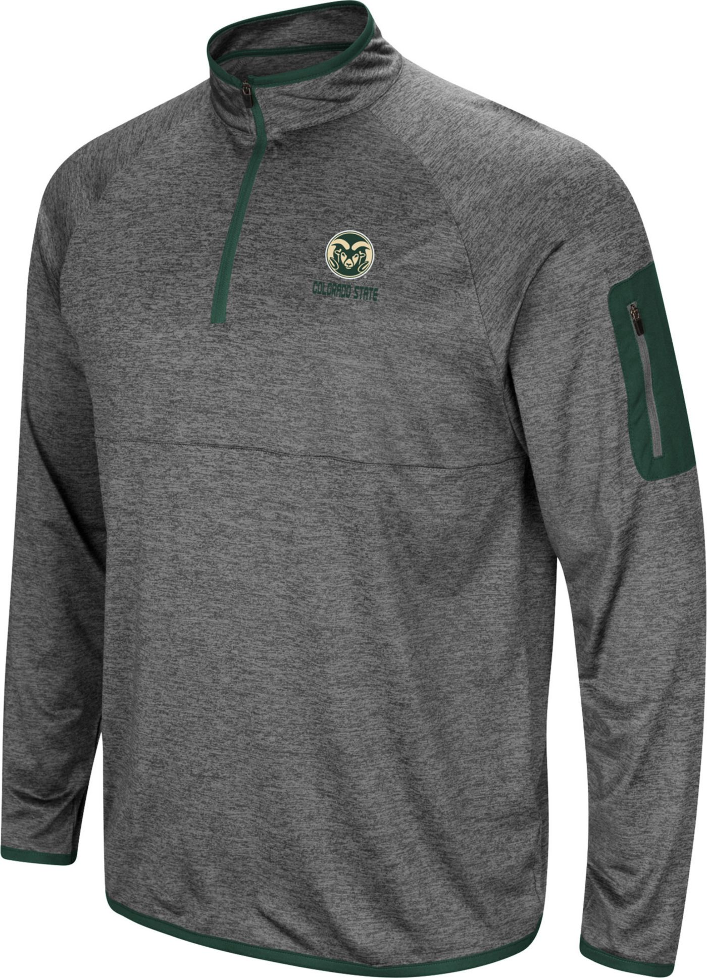 Colosseum Men's Colorado State Rams Grey Indus River Quarter-Zip Shirt
