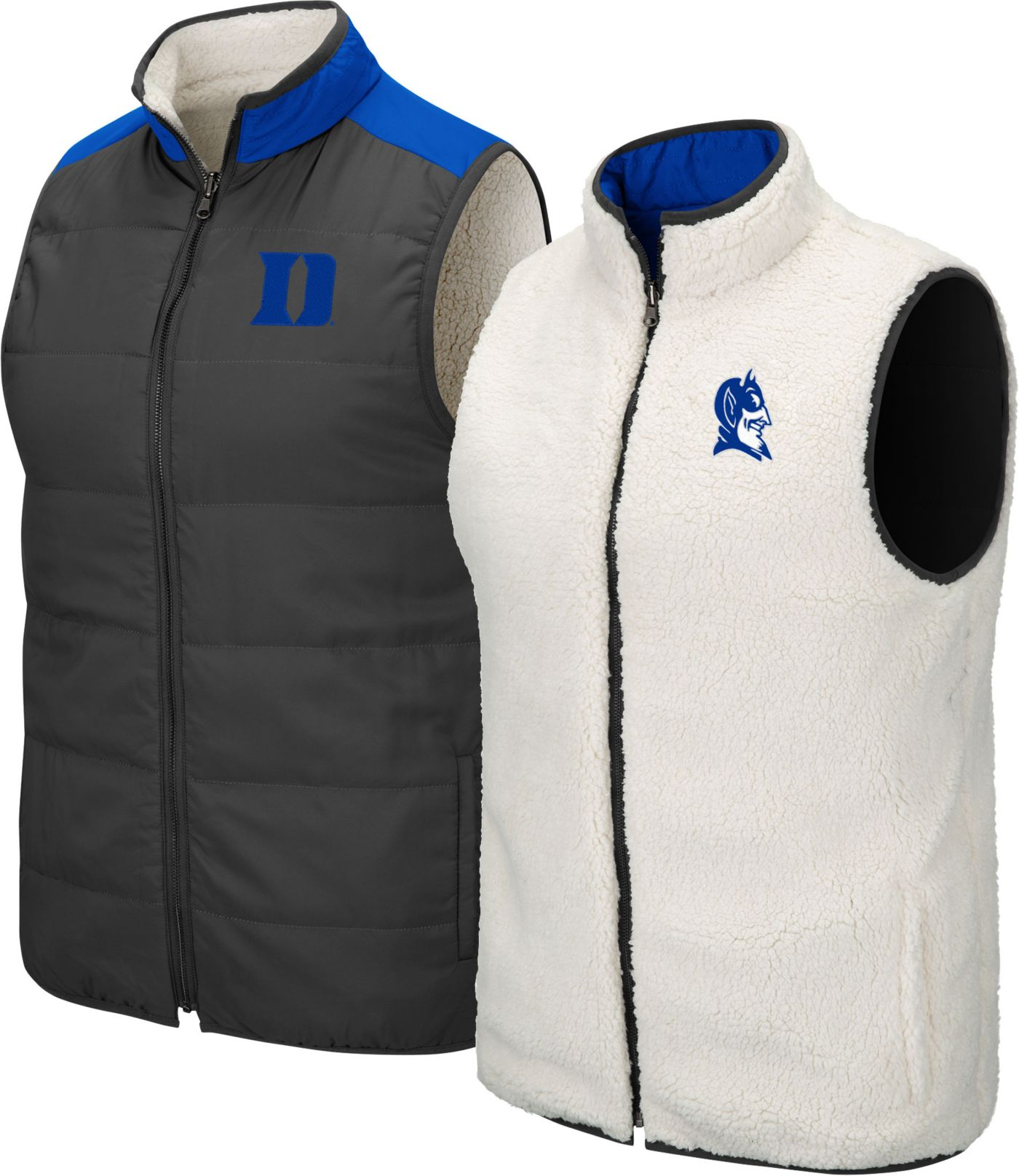 Colosseum Men's Duke Blue Devils Grey Blinky Reversible Full-Zip Vest