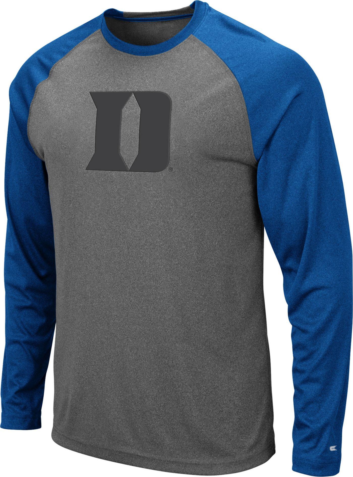 Colosseum Men's Duke Blue Devils Grey Rad Tad Raglan Long Sleeve T-Shirt