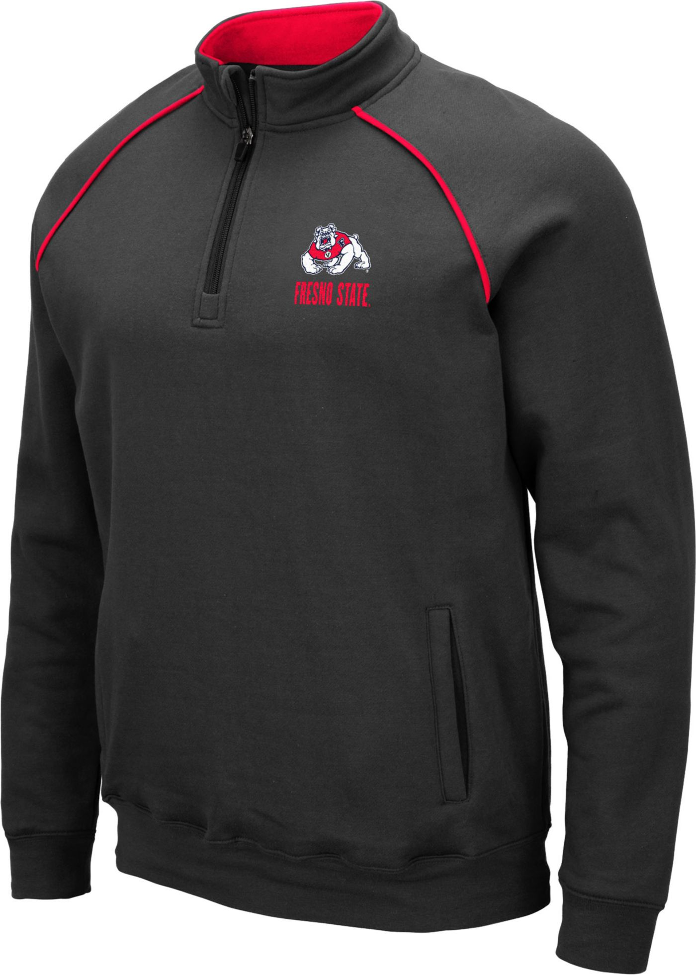 Colosseum Men's Fresno State Bulldogs Grey VF Staghorn Quarter-Zip Shirt