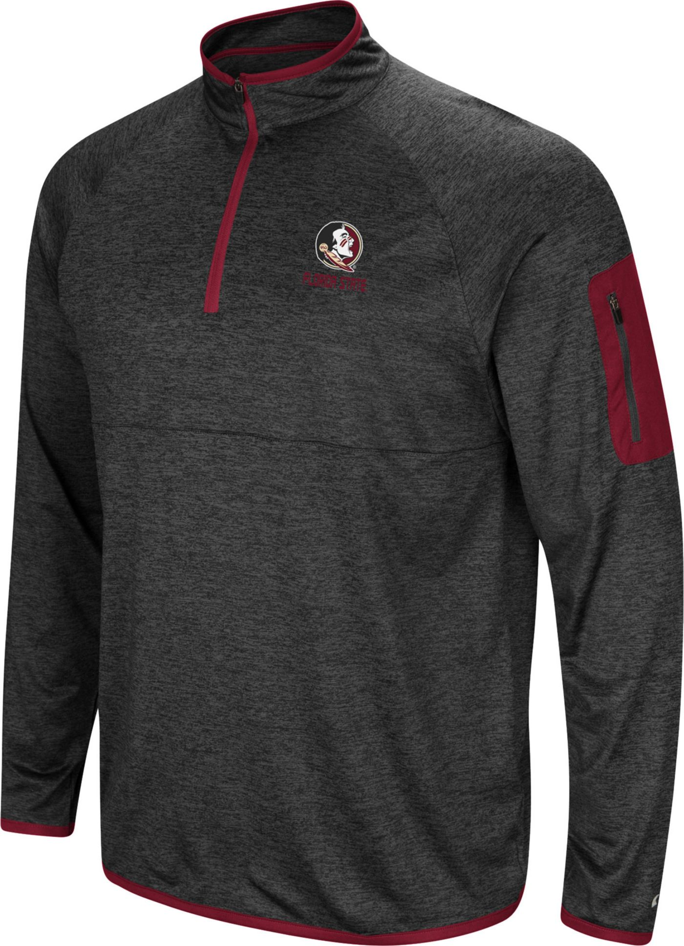 Colosseum Men's Florida State Seminoles Grey Indus River Quarter-Zip Shirt