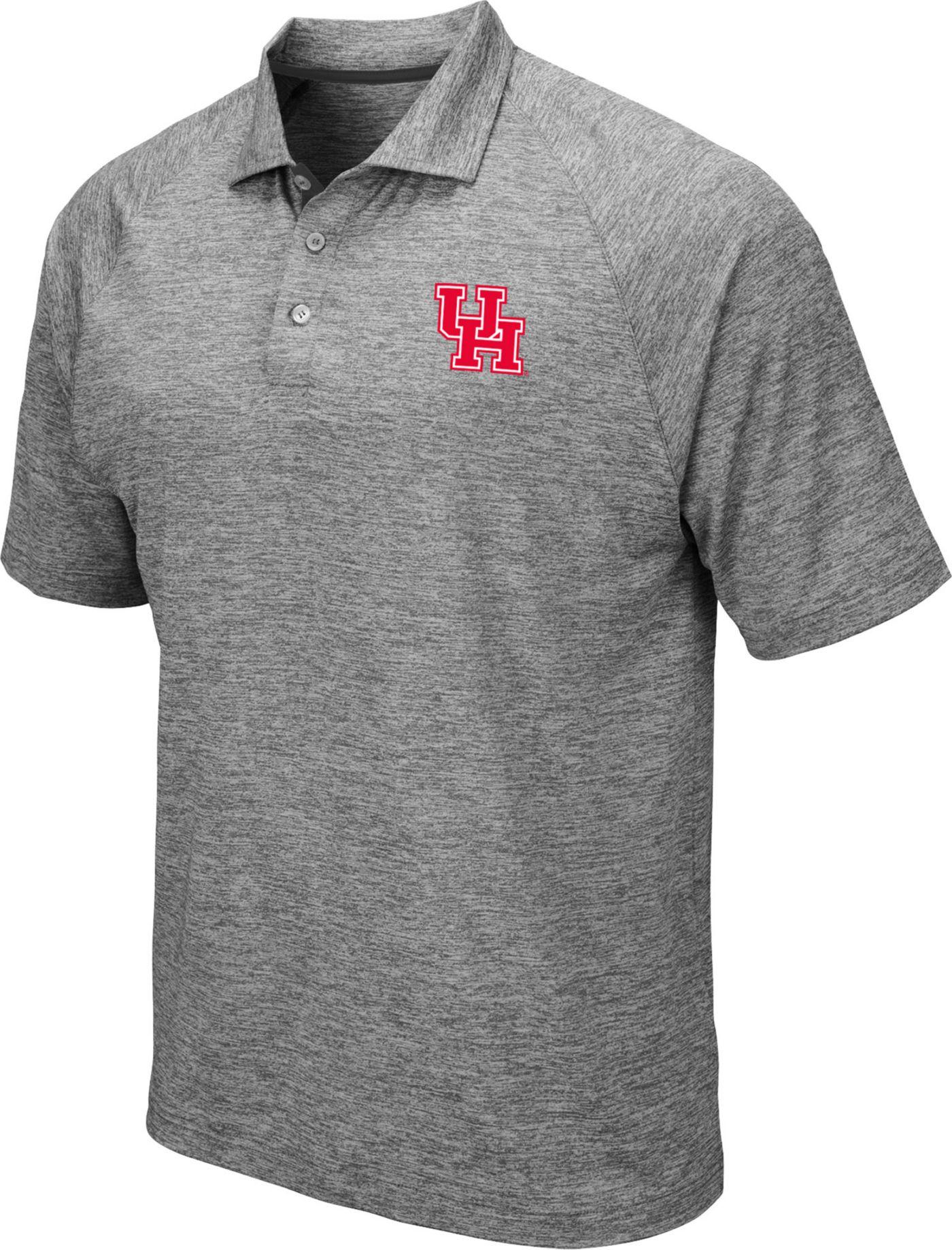Colosseum Men's Houston Cougars Grey Chip Shot Polo