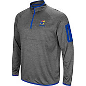 Colosseum Men's Kansas Jayhawks Grey Indus River Quarter-Zip Shirt