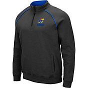 Colosseum Men's Kansas Jayhawks Grey VF Staghorn Quarter-Zip Shirt