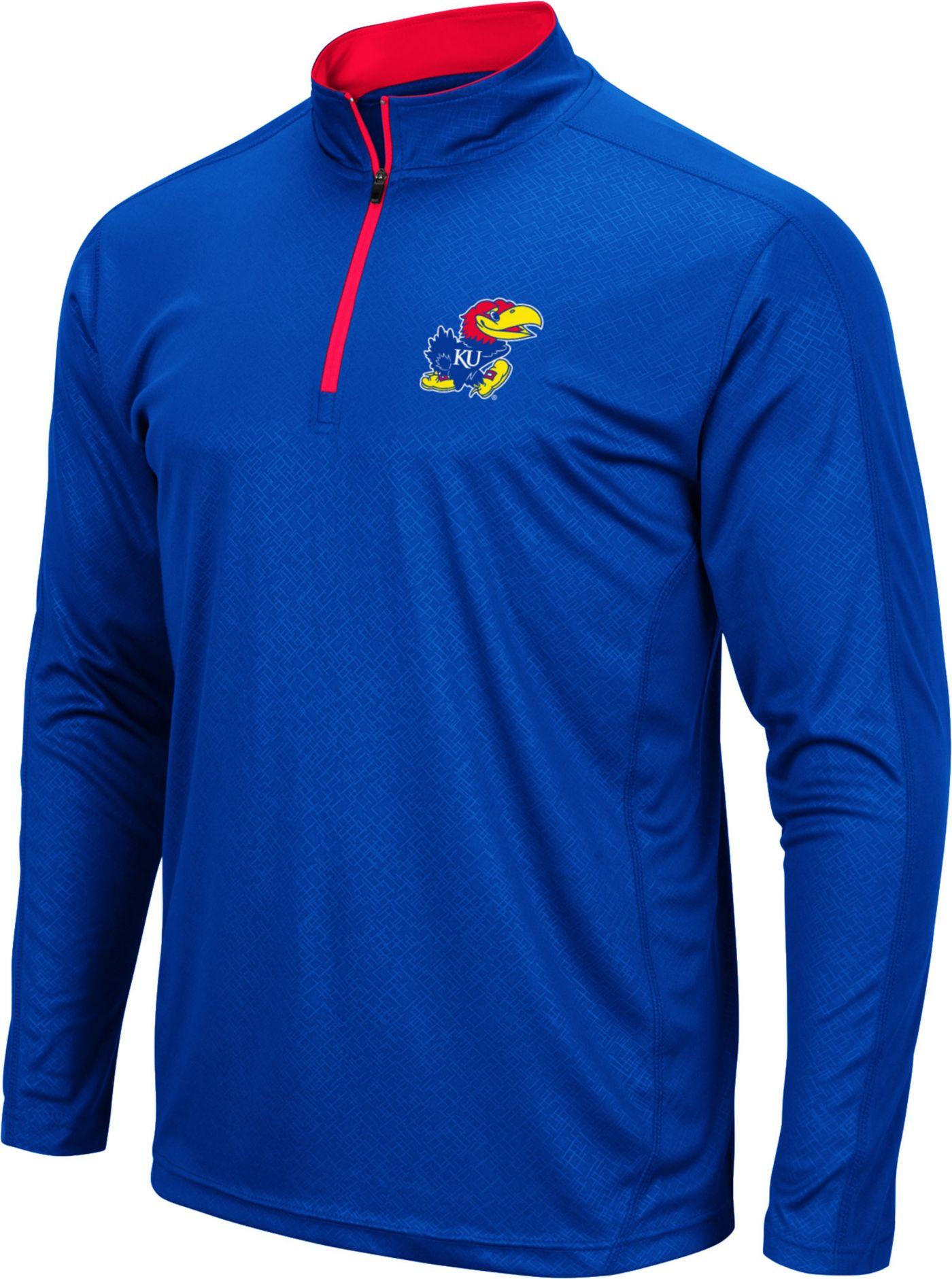 Colosseum Men's Kansas Jayhawks Blue Loggerhead Quarter-Zip Shirt