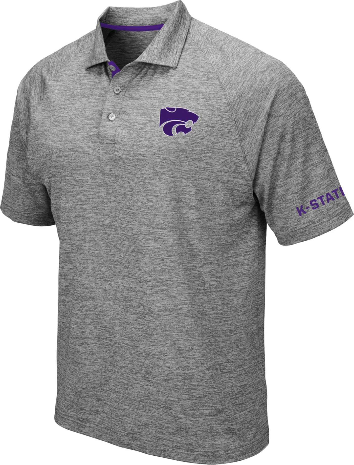 Colosseum Men's Kansas State Wildcats Grey Chip Shot Polo