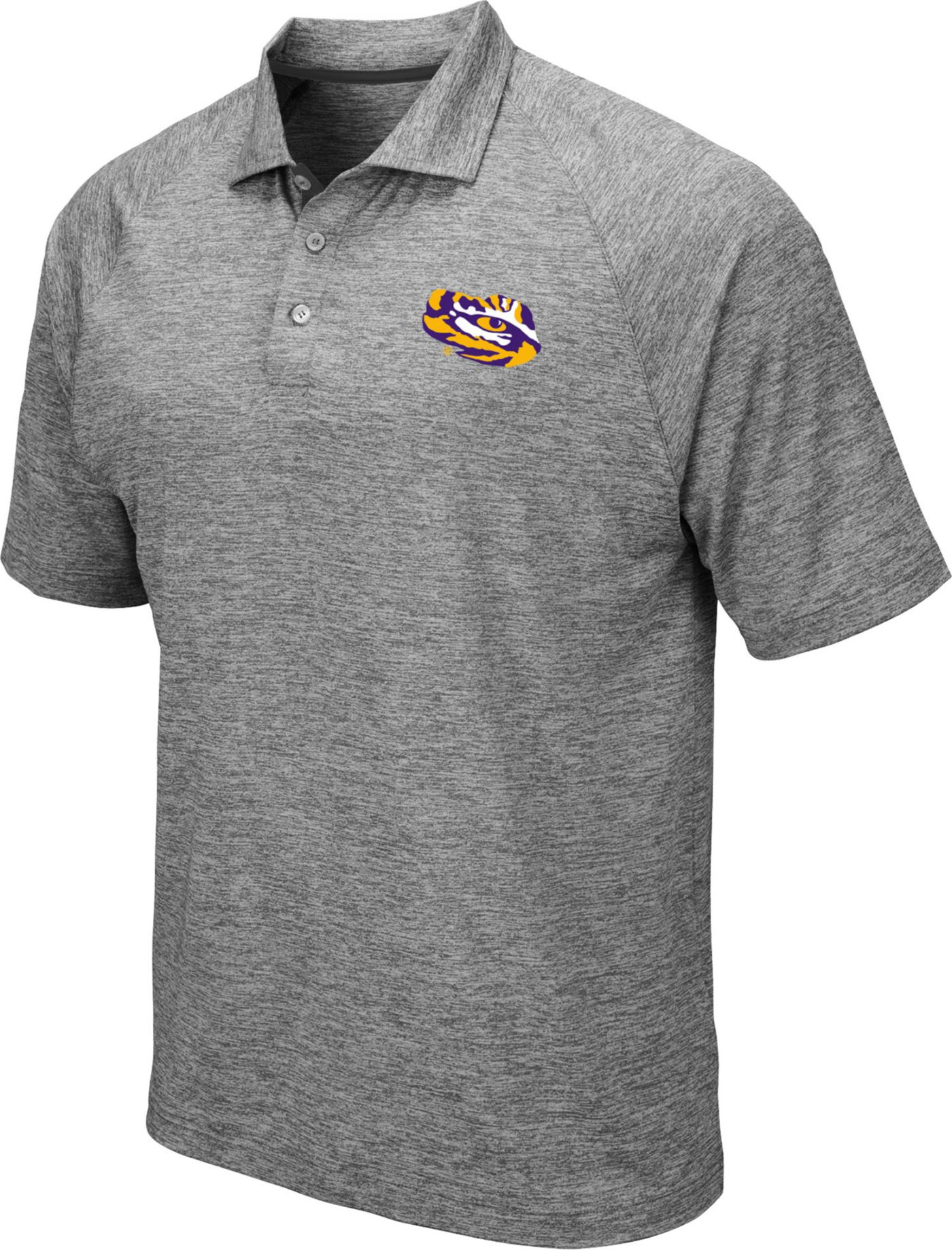 Colosseum Men's LSU Tigers Grey Chip Shot Polo