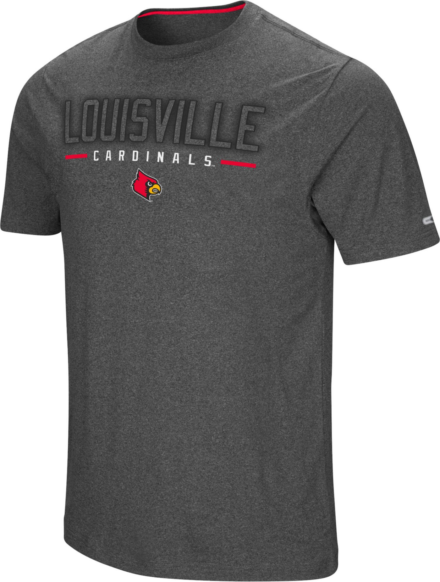 Colosseum Men's Louisville Cardinals Grey Bluefin T-Shirt
