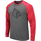 Colosseum Men's Louisville Cardinals Grey Rad Tad Raglan Long Sleeve T-Shirt