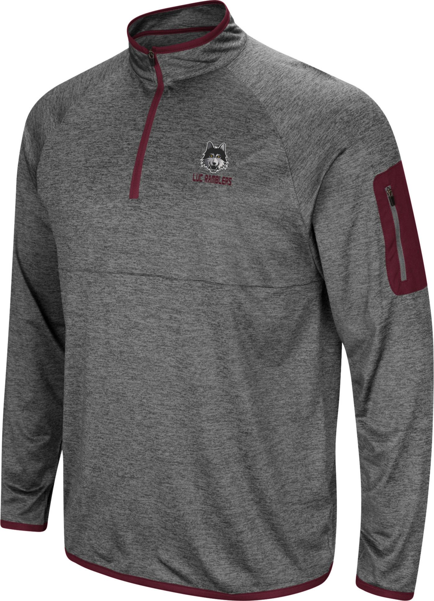 Colosseum Men's Loyola-Chicago Ramblers Grey Indus River Quarter-Zip Shirt