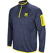 Colosseum Men's Michigan Wolverines Blue Indus River Quarter-Zip Shirt