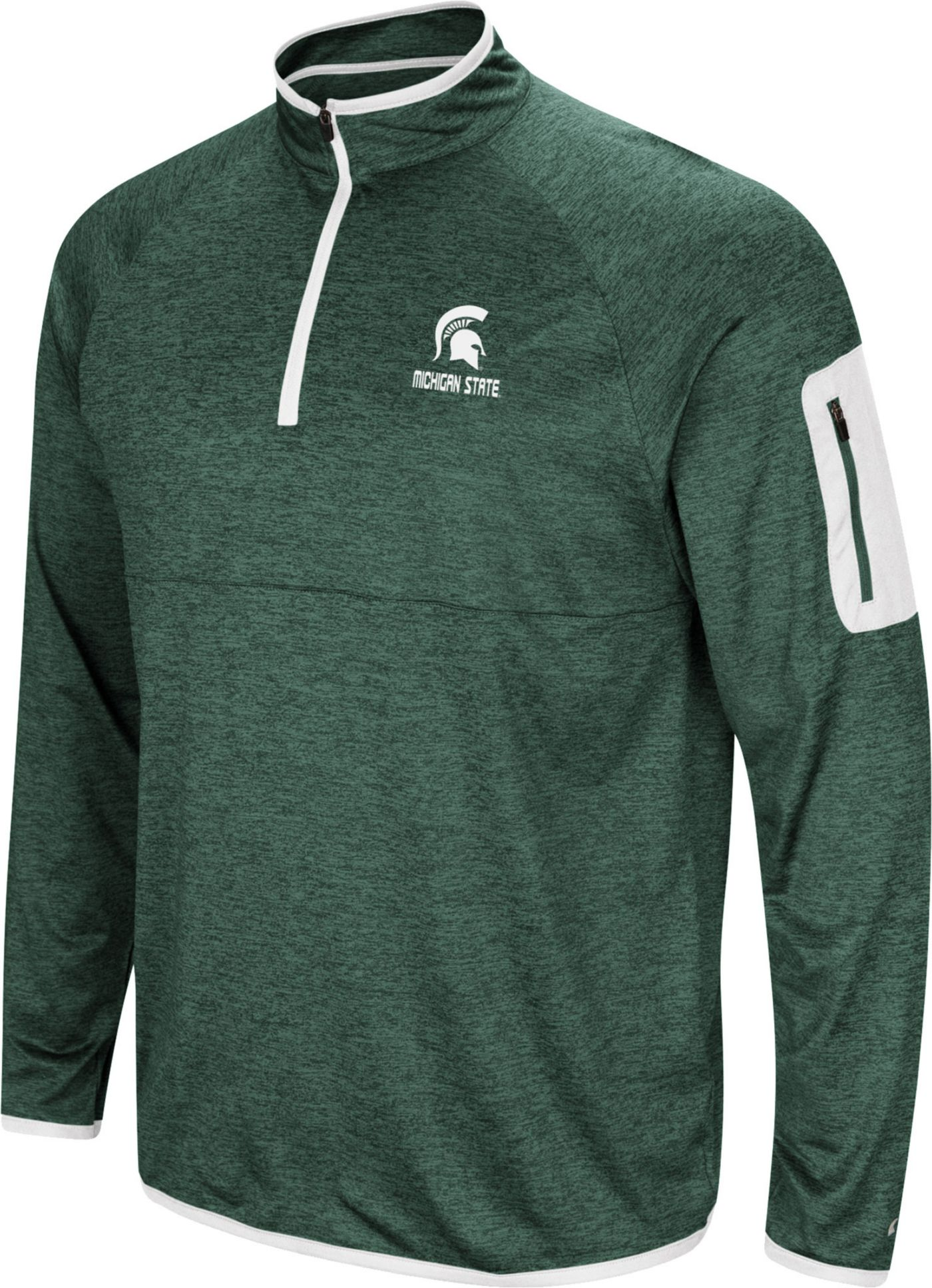 Colosseum Men's Michigan State Spartans Green Indus River Quarter-Zip Shirt