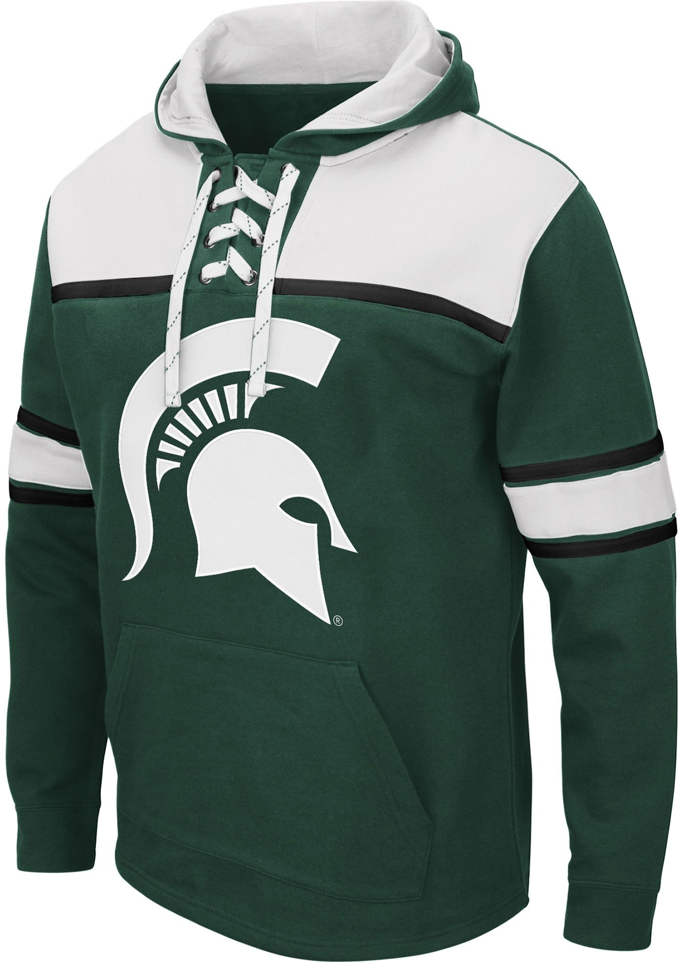 Colosseum Men's Michigan State Spartans Green Skinner Hockey Pullover Hoodie