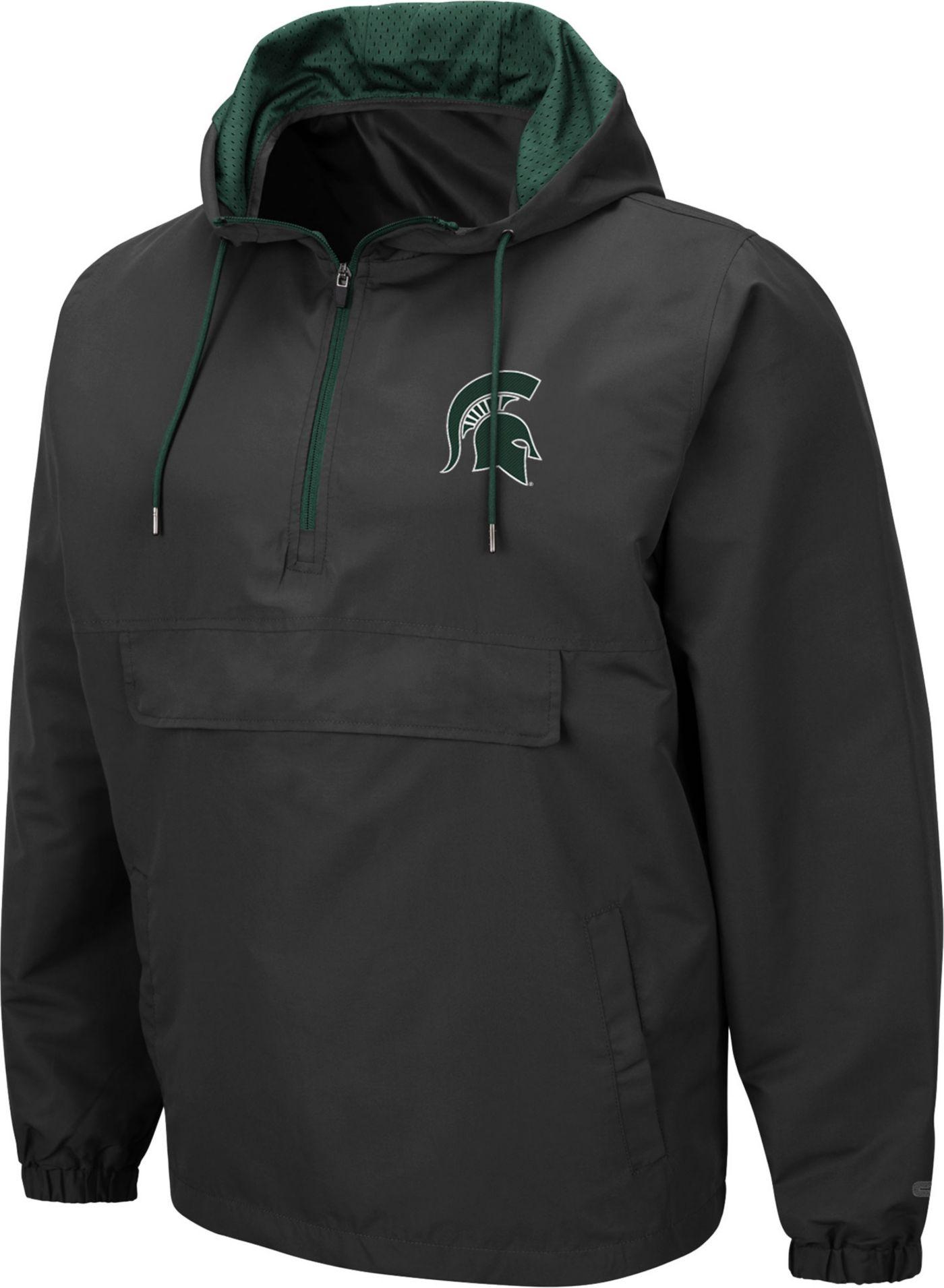 Colosseum Men's Michigan State Spartans Grey Dolph Half-Zip Jacket