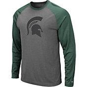 Colosseum Men's Michigan State Spartans Grey Rad Tad Raglan Long Sleeve T-Shirt