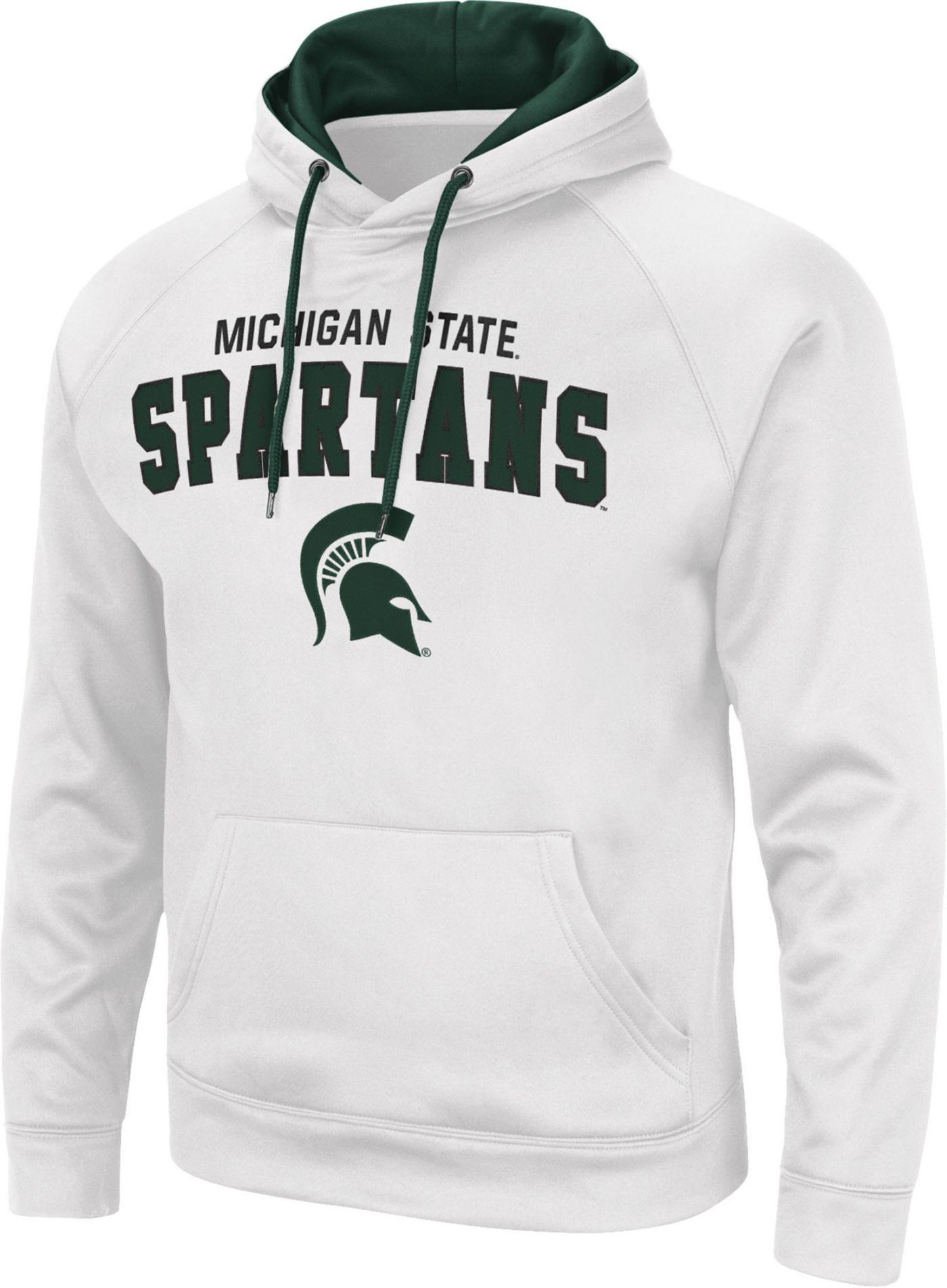 Colosseum Men's Michigan State Spartans Pullover White Hoodie