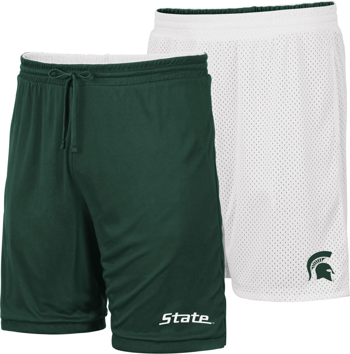 Colosseum Men's Michigan State Spartans Green/White Wiggum Reversible Shorts