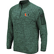 Colosseum Men's Miami Hurricanes Green Quarter-Zip Shirt