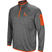 Colosseum Men's Miami Hurricanes Grey Indus River Quarter-Zip Shirt