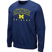 Colosseum Men's Michigan Wolverines Blue Comic Book Crew Sweatshirt
