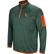 Colosseum Men's Miami Hurricanes Green Indus River Quarter-Zip Shirt