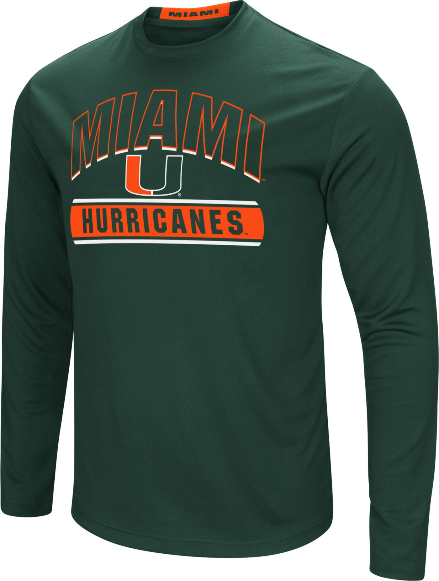 Colosseum Men's Miami Hurricanes Green Ganges Long Sleeve T-Shirt